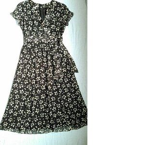 Talbots Short Sleeve Printed Fit Flare Silk Dress